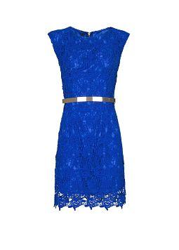 vestido blonda azul evasé