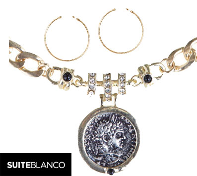 Aros y collar de Moneda SuiteBlanco