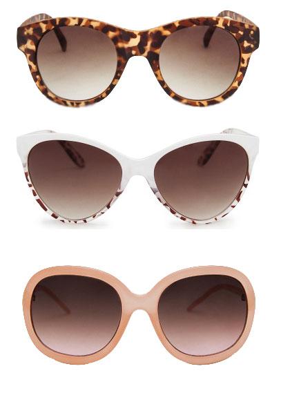 gafas de sol de Mango a 19.99€ cada una. Cat Eye, Nude y de Camuflaje.