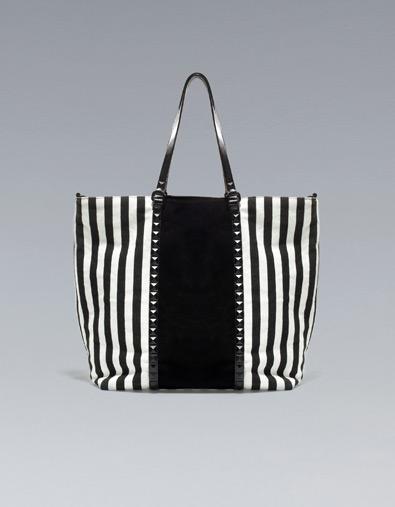 bolso shopper rayas de Zara