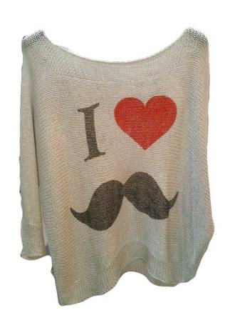 Jersey Hipster con bigote Negro.